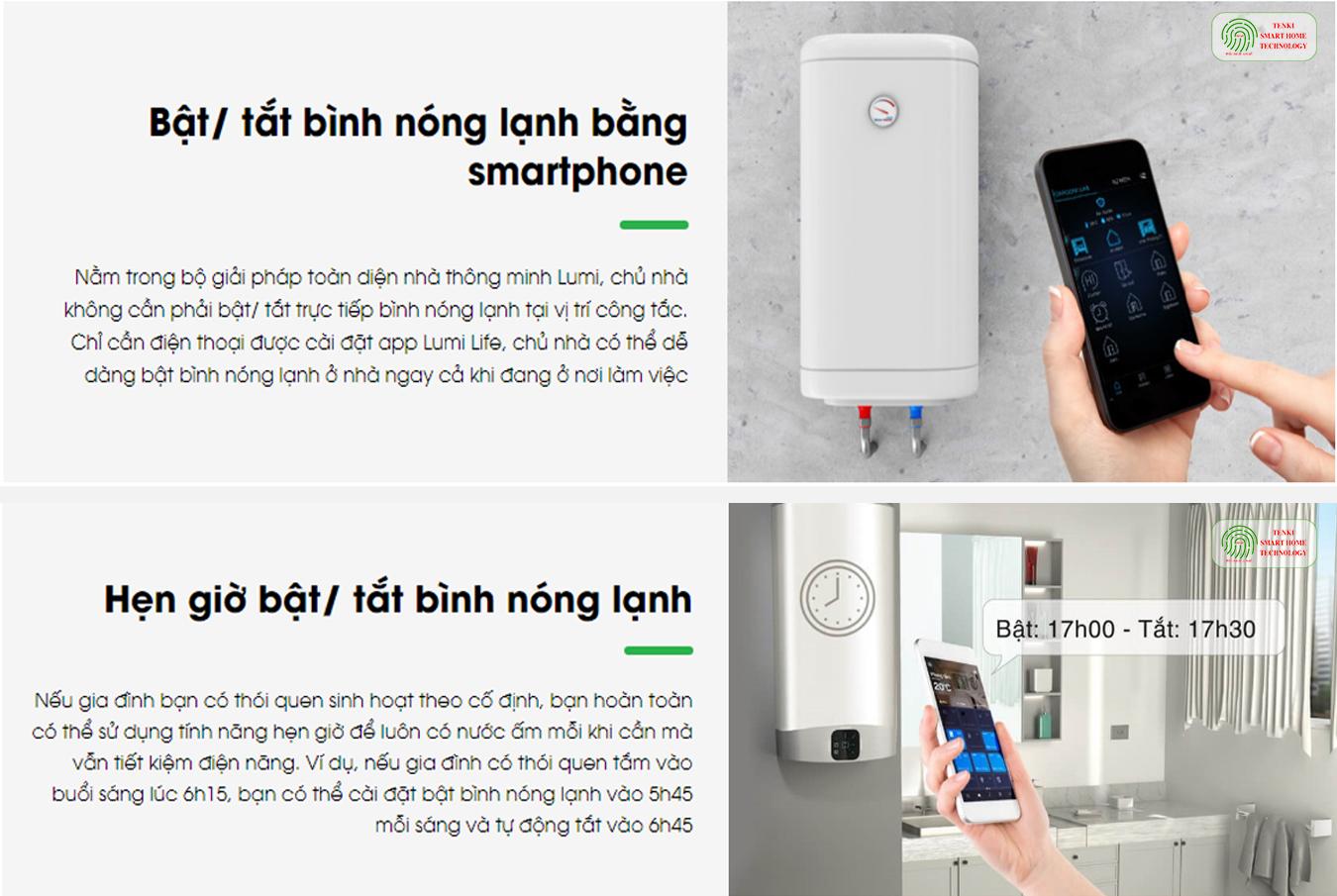 Bật điều hòa, nóng lạnh thông minh nhà LUMI, công ty Tenki Đà Nẵng